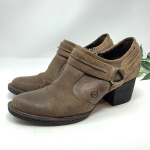 Born Brown Leather Heeled Ankle Harness Boot 8.5
